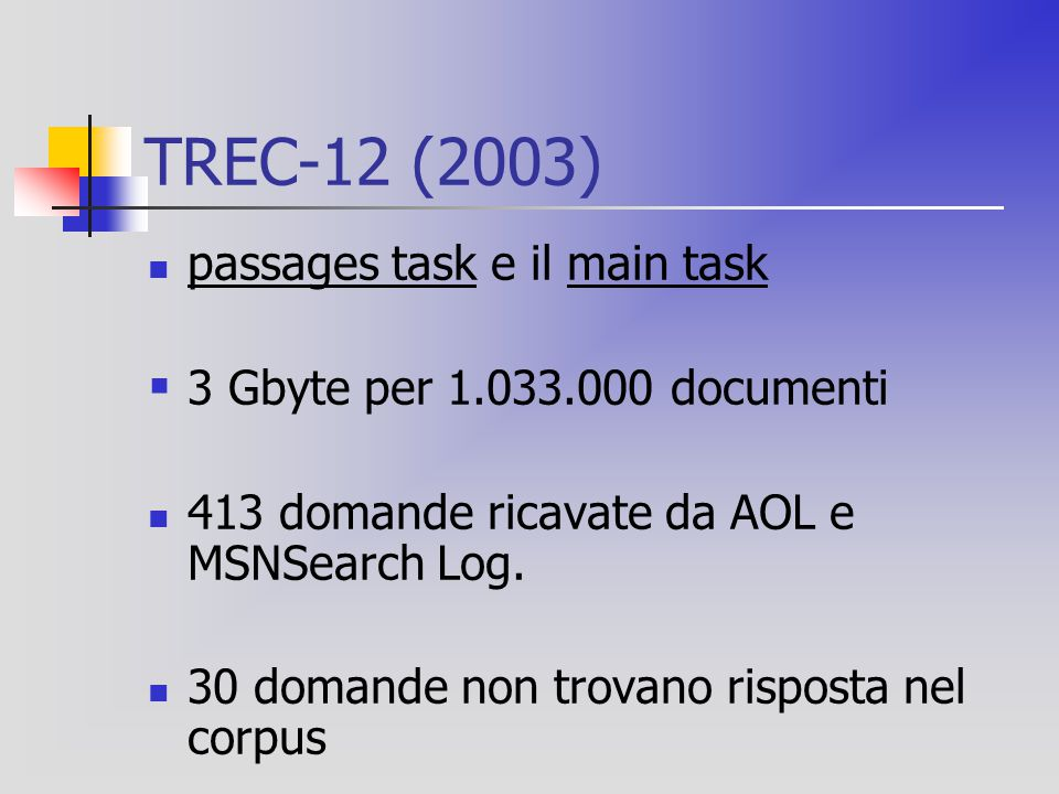 TREC-12 (2003) passages task e il main task  3 Gbyte per 1.033.000 documenti 413 domande ricavate da AOL e MSNSearch Log.