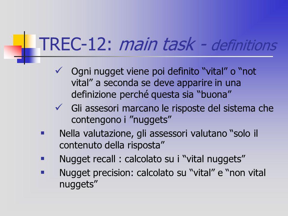 TREC-12: main task - definitions Ogni nugget viene poi definito vital o not vital a seconda se deve apparire in una definizione perché questa sia buona Gli assesori marcano le risposte del sistema che contengono i nuggets  Nella valutazione, gli assessori valutano solo il contenuto della risposta  Nugget recall : calcolato su i vital nuggets  Nugget precision: calcolato su vital e non vital nuggets