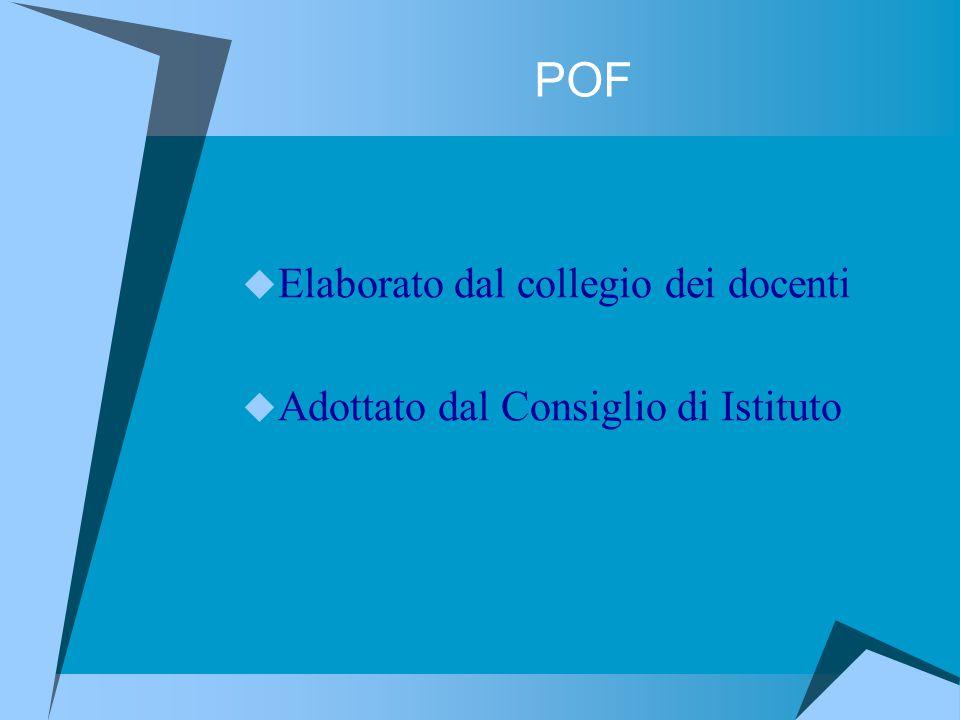 POF  Elaborato dal collegio dei docenti  Adottato dal Consiglio di Istituto