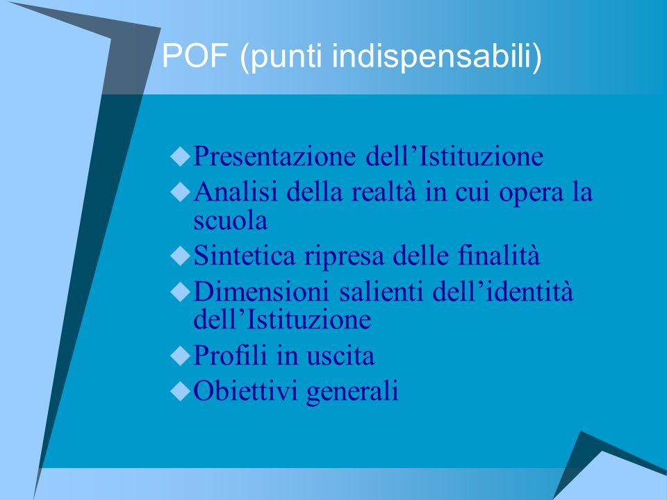 POF (punti indispensabili)  Presentazione dell'Istituzione  Analisi della realtà in cui opera la scuola  Sintetica ripresa delle finalità  Dimensi