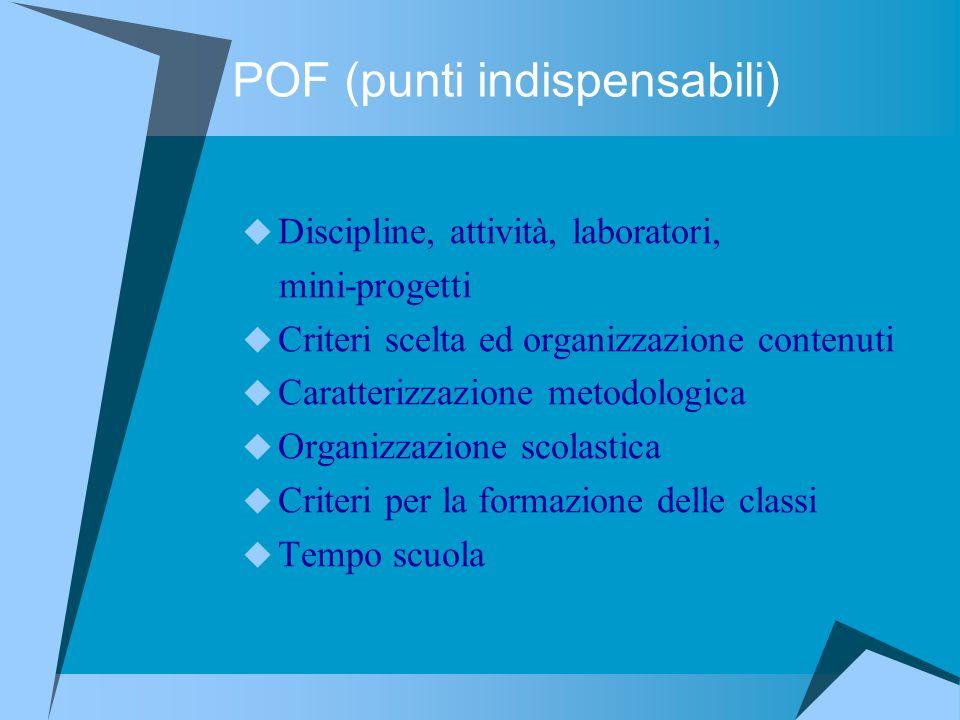 POF (punti indispensabili)  Discipline, attività, laboratori, mini-progetti  Criteri scelta ed organizzazione contenuti  Caratterizzazione metodolo