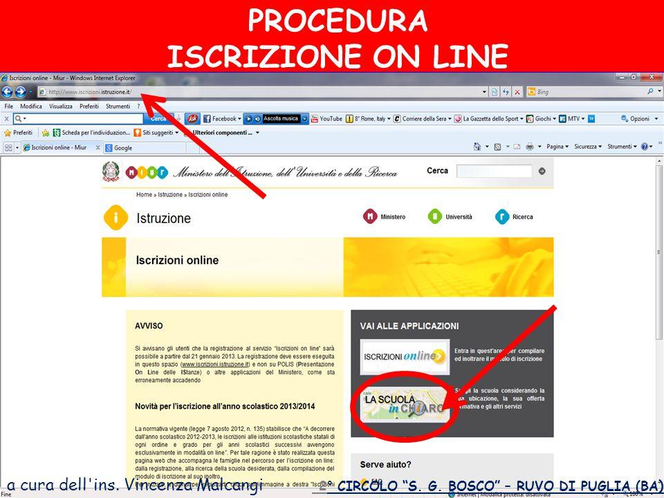 a cura dell ins.Vincenza Malcangi PROCEDURA ISCRIZIONE ON LINE 2° CIRCOLO S.
