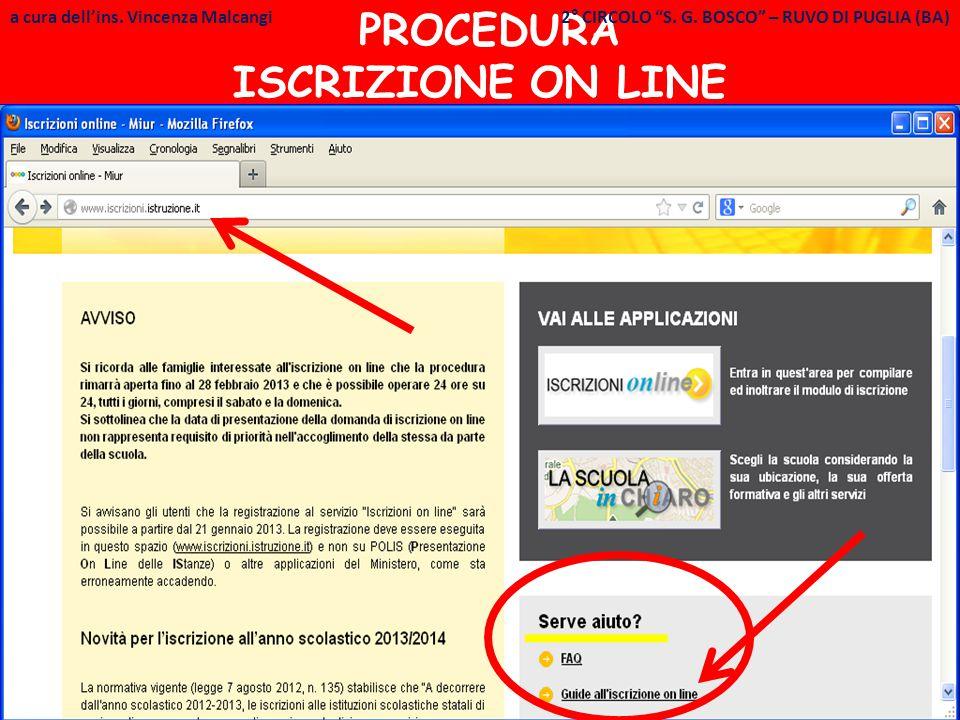 a cura dell ins.Vincenza Malcangi PROCEDURA ISCRIZIONE ON LINE - 1 a cura dell'ins.