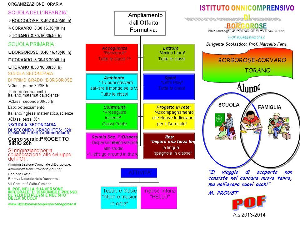 BORGOROSE-CORVARO TORANO ORGANIZZAZIONE ORARIA SCUOLA DELL'INFANZIA:  BORGOROSE 8.40-16.40(40 h)  CORVARO 8.30-16.30(40 h)  TORANO 8.30-16.30(40 h) SCUOLA PRIMARIA :  BORGOROSE 8.40-16.40(40 h)  CORVARO 8.30-16.30(40 h)  TORANO 8.30-16.30(30 h) SCUOLA SECONDARIA DI PRIMO GRADO :BORGOROSE  Classi prime 30/36 h: Lab:.potenziamento italiano,matematica,scienze  Classi seconde 30/36 h Lab:.potenziamento Italiano/inglese,matematica,scienze  Classi terze 30h  SCUOLA SECONDARIA Di SECONDO GRADO-ITES: 32h classi con orario antimeridiano Corso serale:PROGETTO SIRIO 26h Si ringraziano per la collaborazione allo sviluppo del POF: Amministrazione Comunale di Borgorose, Amministrazione Provinciale di Rieti Regione Lazio Riserva Naturale della Duchessa.