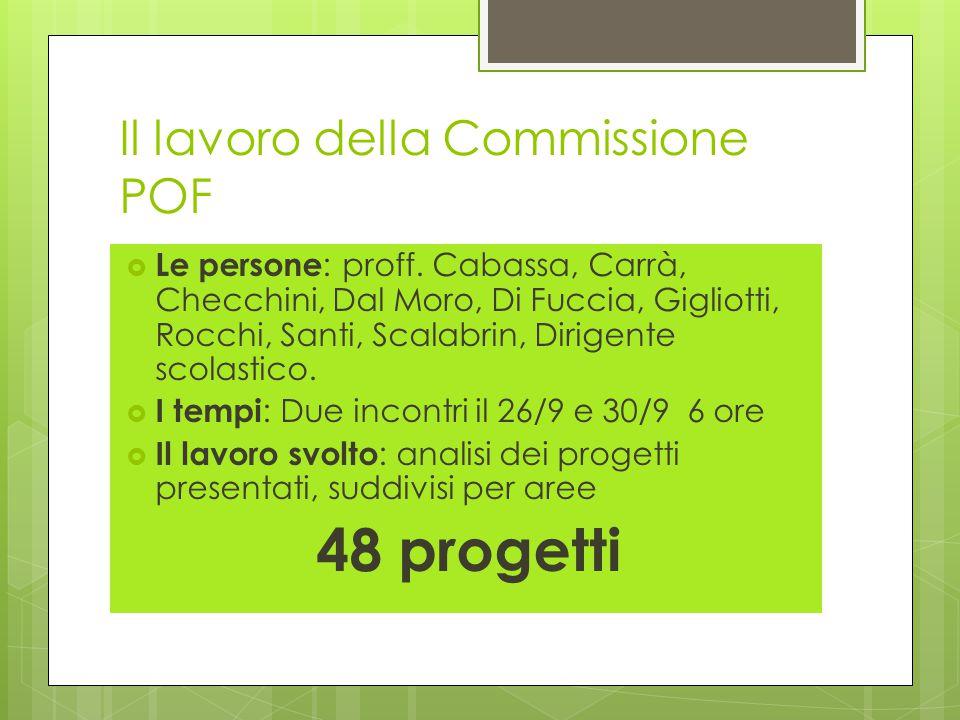 Il lavoro della Commissione POF  Le persone : proff.