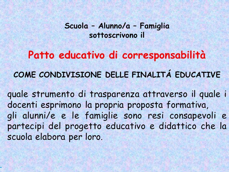 Scuola – Alunno/a – Famiglia sottoscrivono il Patto educativo di corresponsabilità COME CONDIVISIONE DELLE FINALITÁ EDUCATIVE quale strumento di trasp
