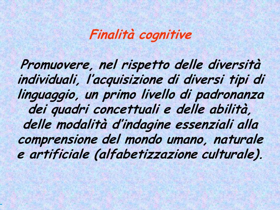 Finalità cognitive Promuovere, nel rispetto delle diversità individuali, l'acquisizione di diversi tipi di linguaggio, un primo livello di padronanza
