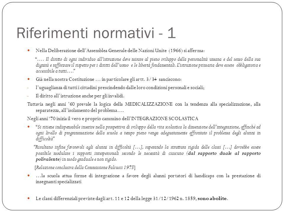 """Riferimenti normativi - 1 Nella Deliberazione dell'Assemblea Generale delle Nazioni Unite (1966) si afferma: """"…. Il diritto di ogni individuo all'istr"""