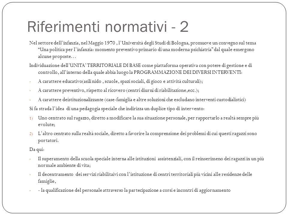 """Riferimenti normativi - 2 Nel settore dell'infanzia, nel Maggio 1970, l'Università degli Studi di Bologna, promuove un convegno sul tema """"Una politica"""