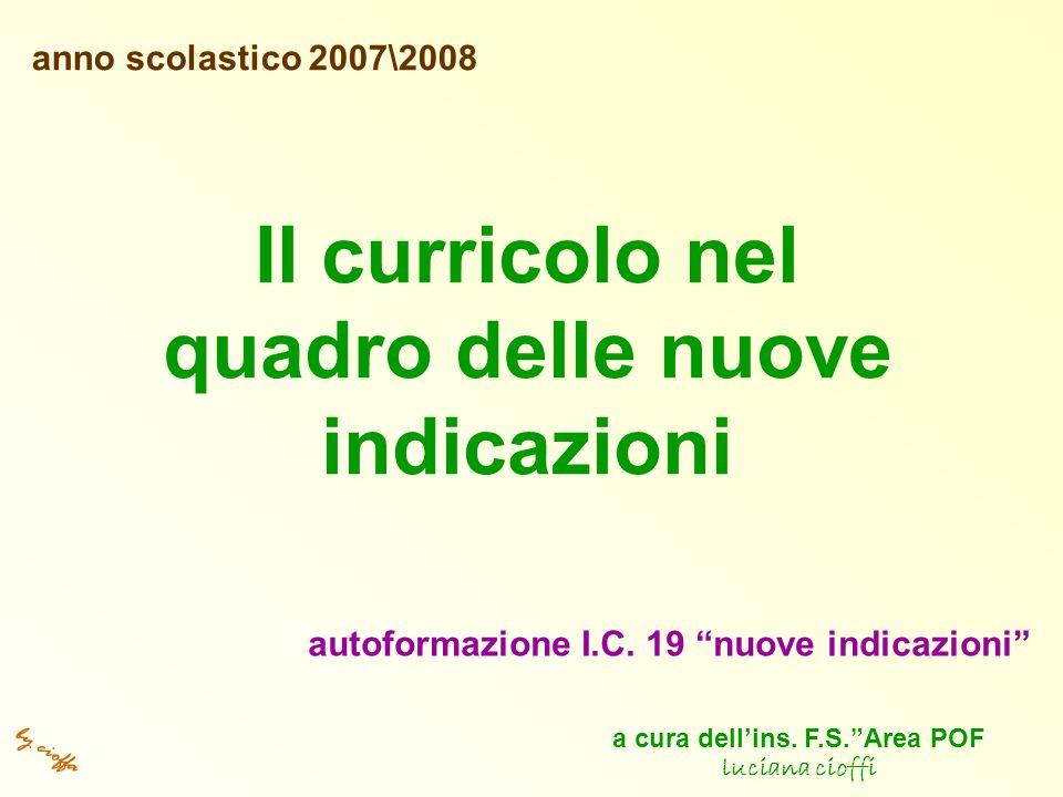 by cioffa Il curricolo nel quadro delle nuove indicazioni anno scolastico 2007\2008 autoformazione I.C.
