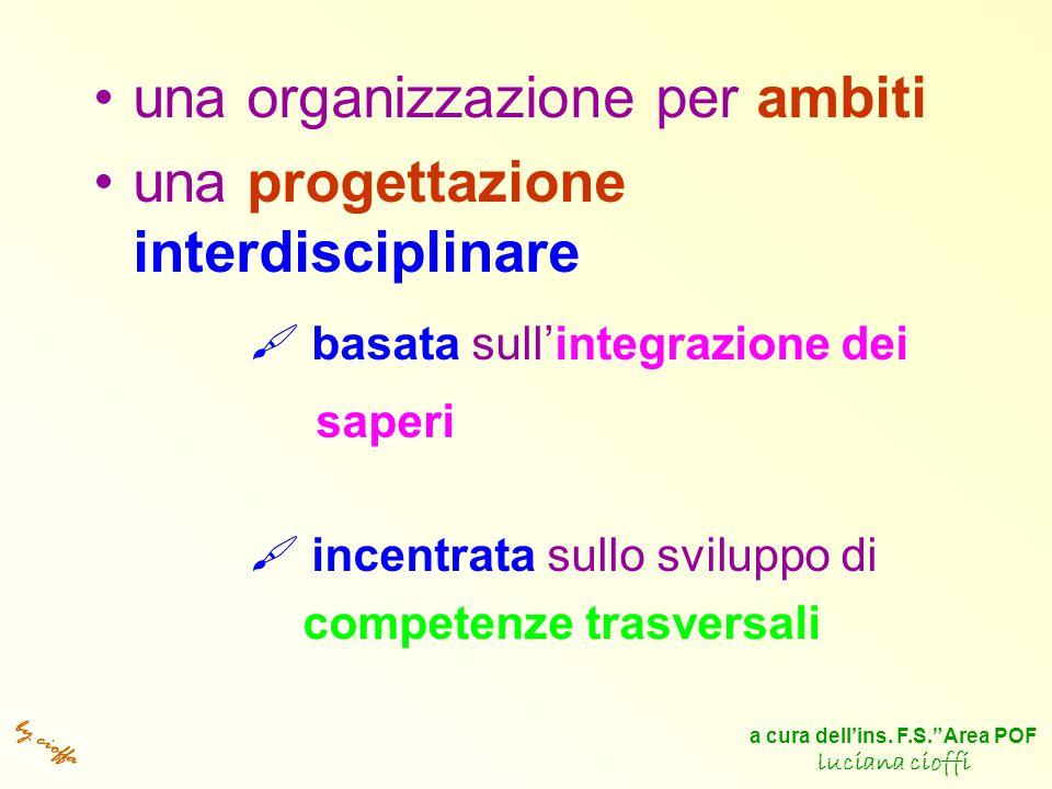 by cioffa una organizzazione per ambiti una progettazione interdisciplinare  basata sull'integrazione dei saperi  incentrata sullo sviluppo di competenze trasversali a cura dell'ins.