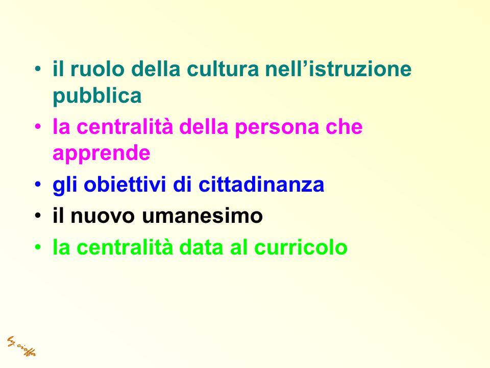 by cioffa il ruolo della cultura nell'istruzione pubblica la centralità della persona che apprende gli obiettivi di cittadinanza il nuovo umanesimo la centralità data al curricolo