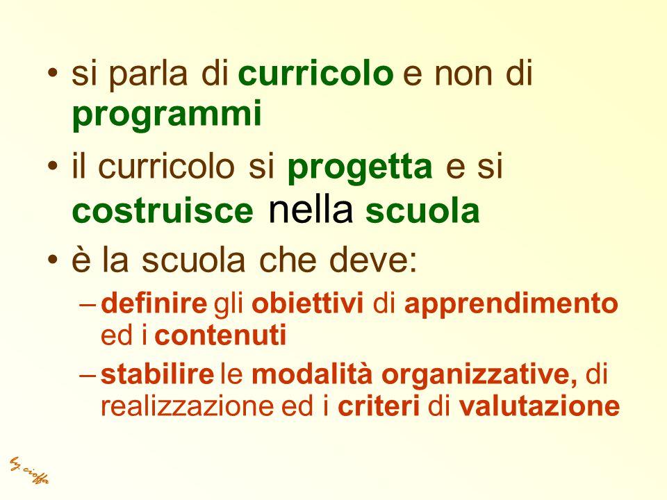 by cioffa si parla di curricolo e non di programmi il curricolo si progetta e si costruisce nella scuola è la scuola che deve: –definire gli obiettivi di apprendimento ed i contenuti –stabilire le modalità organizzative, di realizzazione ed i criteri di valutazione