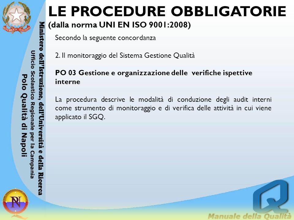 LE PROCEDURE OBBLIGATORIE (dalla norma UNI EN ISO 9001:2008) Secondo la seguente concordanza 2. Il monitoraggio del Sistema Gestione Qualità PO 03 Ges