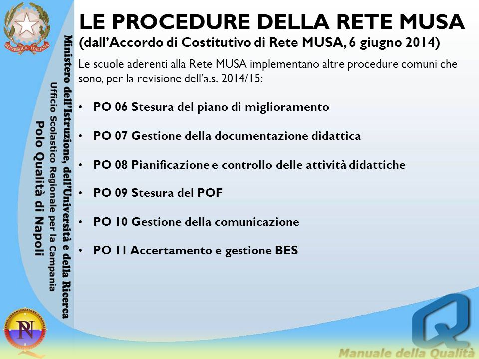LE PROCEDURE DELLA RETE MUSA (dall'Accordo di Costitutivo di Rete MUSA, 6 giugno 2014) Le scuole aderenti alla Rete MUSA implementano altre procedure
