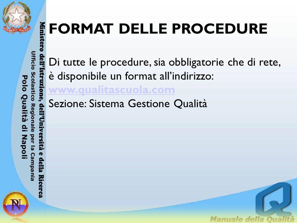 FORMAT DELLE PROCEDURE Di tutte le procedure, sia obbligatorie che di rete, è disponibile un format all'indirizzo: www.qualitascuola.com Sezione: Sist