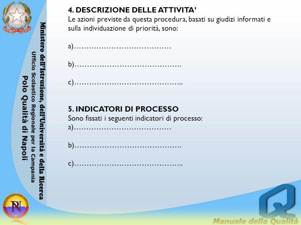 4. DESCRIZIONE DELLE ATTIVITA' Le azioni previste da questa procedura, basati su giudizi informati e sulla individuazione di priorità, sono: a)…………………