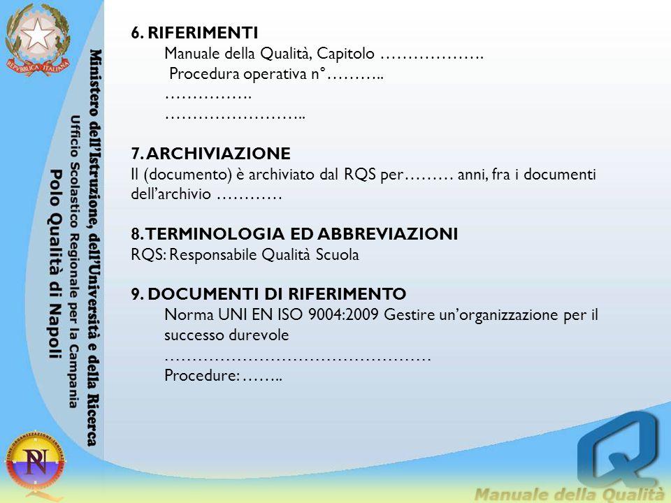 6. RIFERIMENTI Manuale della Qualità, Capitolo ………………. Procedura operativa n°……….. ……………. …………………….. 7. ARCHIVIAZIONE Il (documento) è archiviato dal