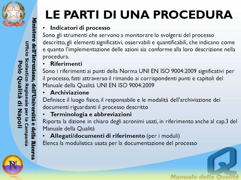 LE PARTI DI UNA PROCEDURA Indicatori di processo Sono gli strumenti che servono a monitorare lo svolgersi del processo descritto, gli elementi signifi