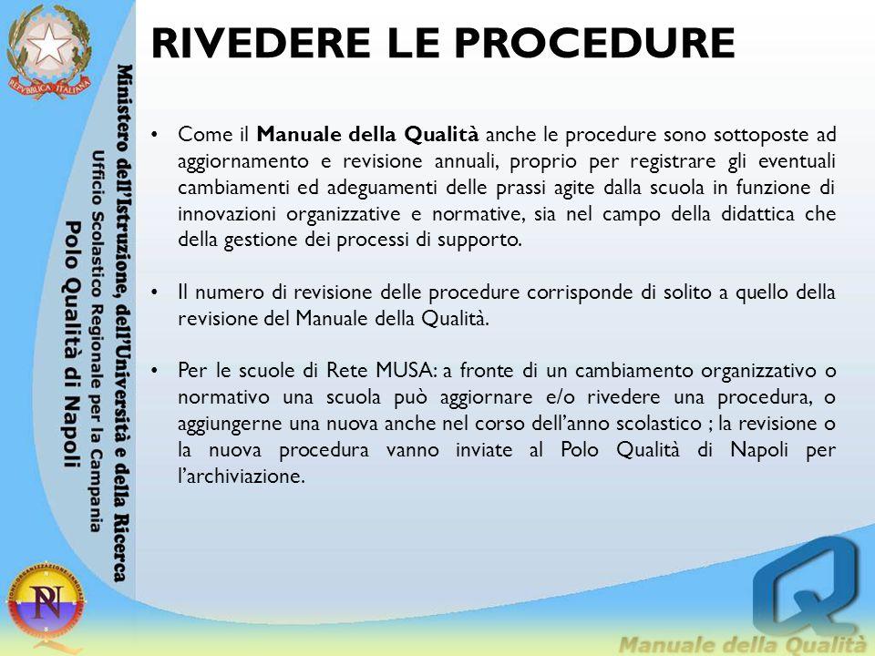 RIVEDERE LE PROCEDURE Come il Manuale della Qualità anche le procedure sono sottoposte ad aggiornamento e revisione annuali, proprio per registrare gl