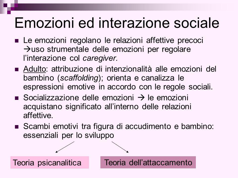 Emozioni ed interazione sociale Le emozioni regolano le relazioni affettive precoci  uso strumentale delle emozioni per regolare l'interazione col ca