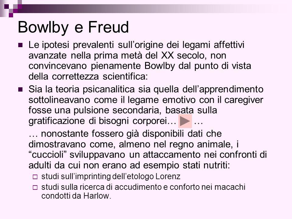 Bowlby e Freud Le ipotesi prevalenti sull'origine dei legami affettivi avanzate nella prima metà del XX secolo, non convincevano pienamente Bowlby dal