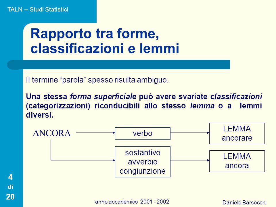 Daniele Barsocchi anno accademico 2001 - 2002 Rapporto tra forme, classificazioni e lemmi Quindi ad una stessa forma possono corrispondere classificazioni diverse, riconducibili allo stesso lemma.