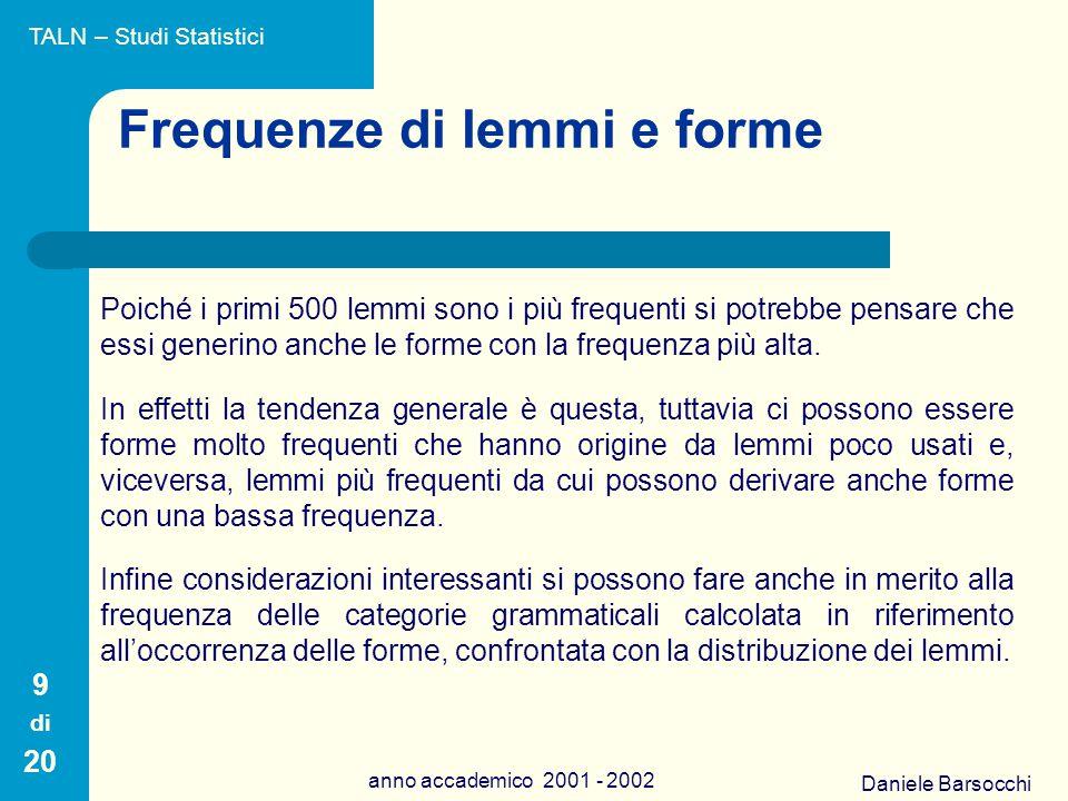 Daniele Barsocchi anno accademico 2001 - 2002 Frequenze di lemmi e forme Poiché i primi 500 lemmi sono i più frequenti si potrebbe pensare che essi generino anche le forme con la frequenza più alta.
