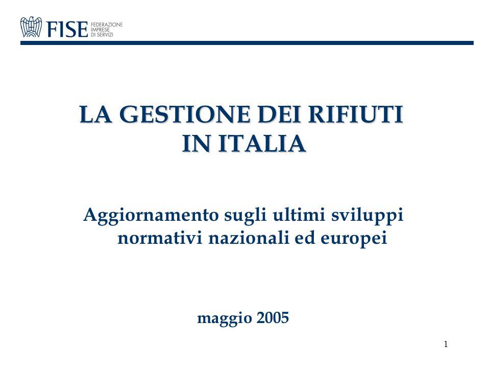 1 LA GESTIONE DEI RIFIUTI IN ITALIA Aggiornamento sugli ultimi sviluppi normativi nazionali ed europei maggio 2005