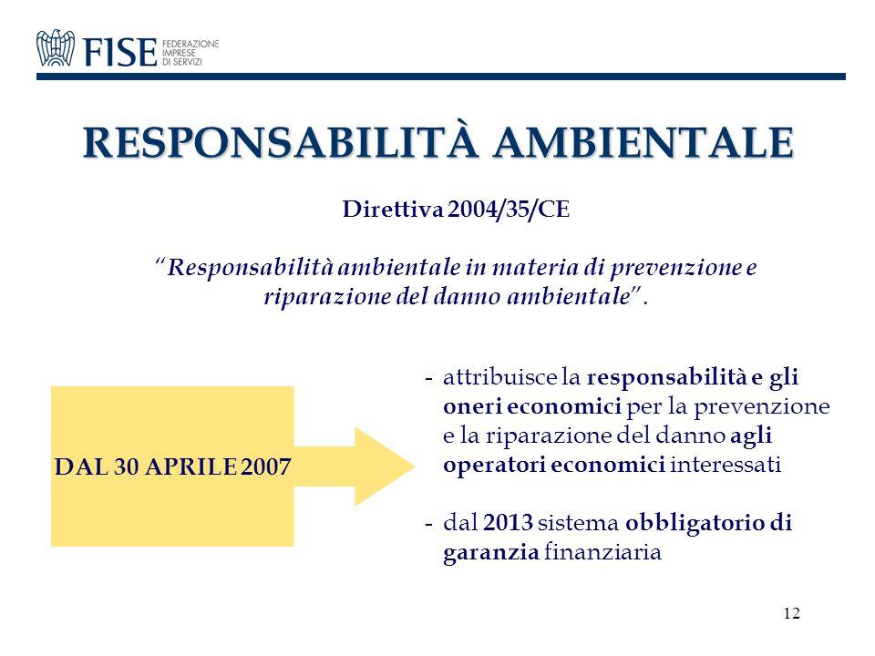 """12 RESPONSABILITÀ AMBIENTALE Direttiva 2004/35/CE """" Responsabilità ambientale in materia di prevenzione e riparazione del danno ambientale """". DAL 30 A"""