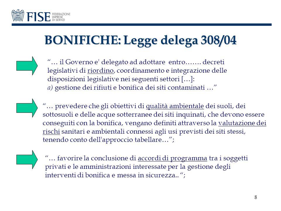 """8 BONIFICHE: Legge delega 308/04 """"… il Governo e' delegato ad adottare entro……. decreti legislativi di riordino, coordinamento e integrazione delle di"""