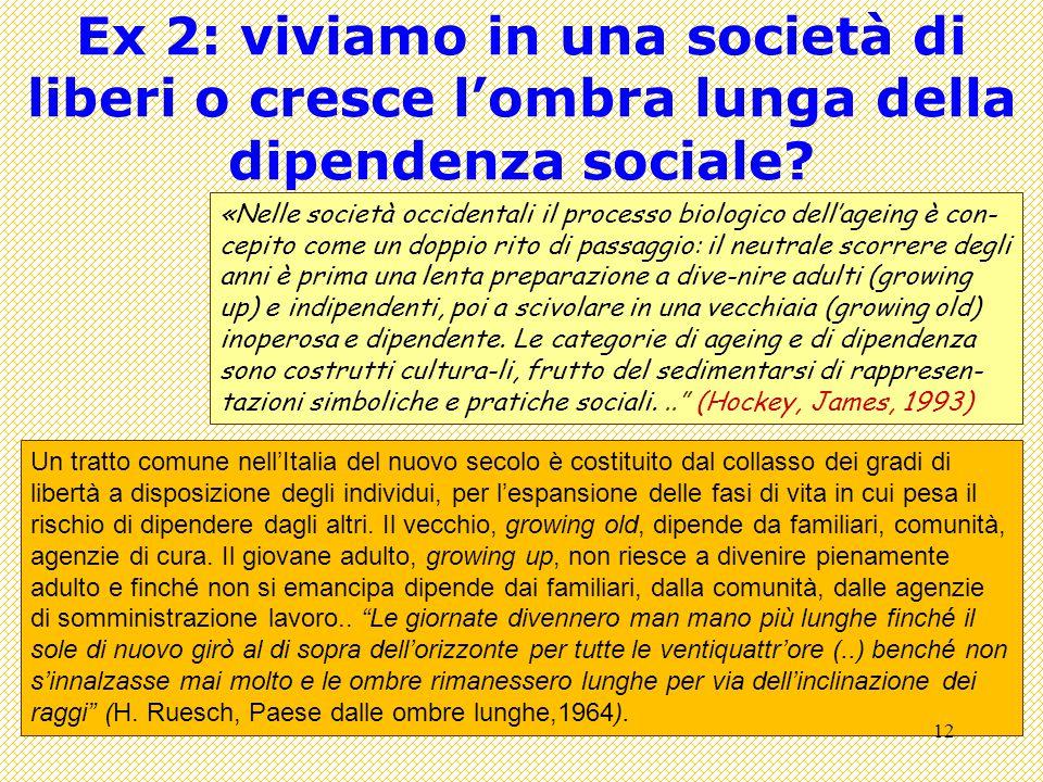 Ex 2: viviamo in una società di liberi o cresce l'ombra lunga della dipendenza sociale.