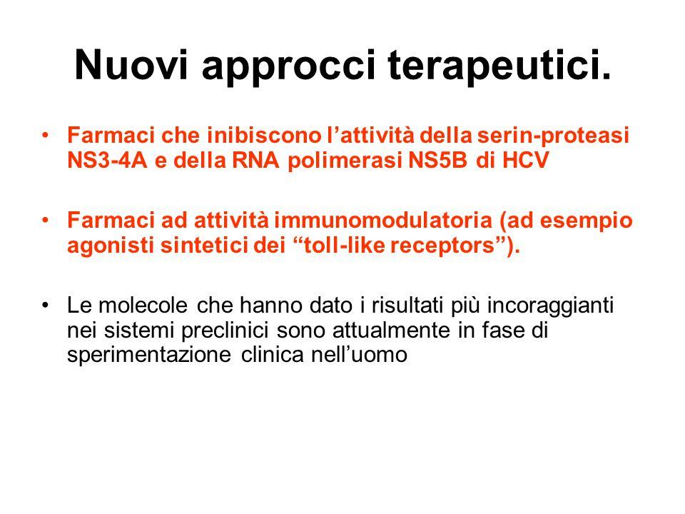 Nuovi approcci terapeutici. Farmaci che inibiscono l'attività della serin-proteasi NS3-4A e della RNA polimerasi NS5B di HCV Farmaci ad attività immun