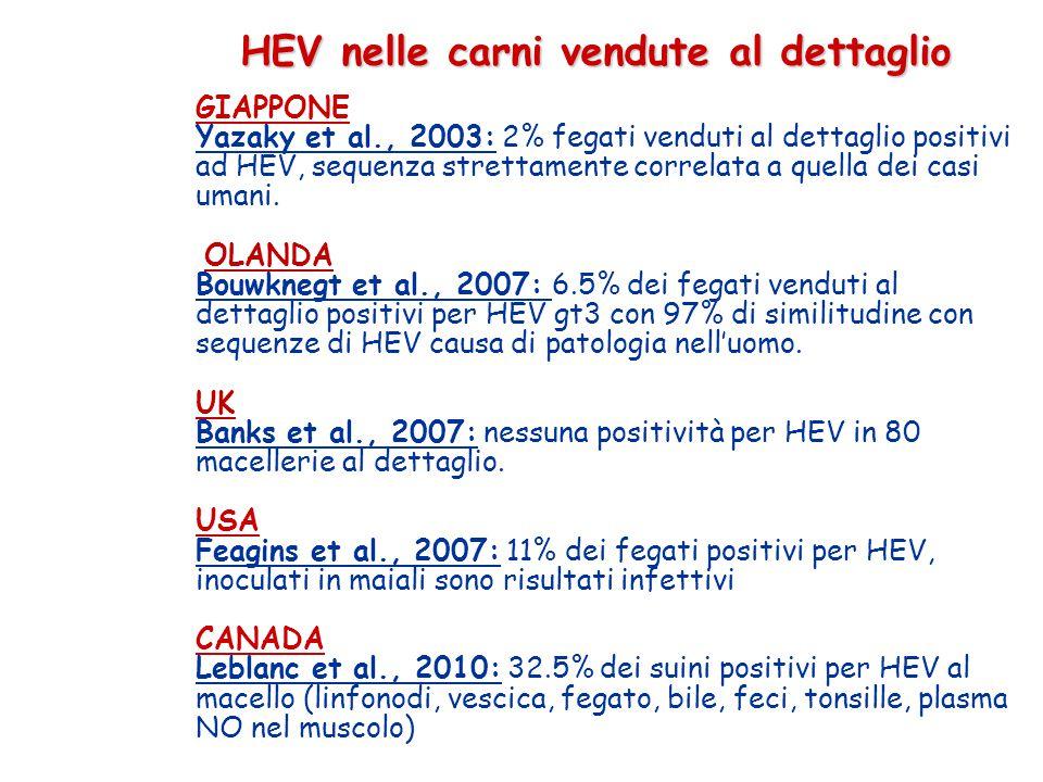 HEV nelle carni vendute al dettaglio HEV nelle carni vendute al dettaglio GIAPPONE Yazaky et al., 2003: 2% fegati venduti al dettaglio positivi ad HEV