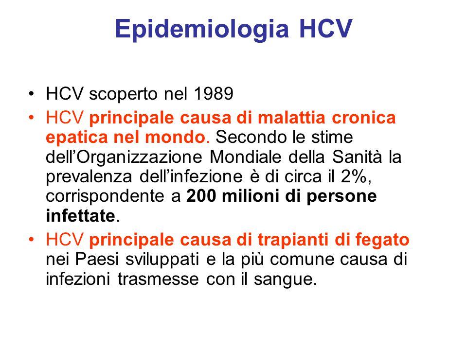 Epidemiologia HCV HCV scoperto nel 1989 HCV principale causa di malattia cronica epatica nel mondo. Secondo le stime dell'Organizzazione Mondiale dell