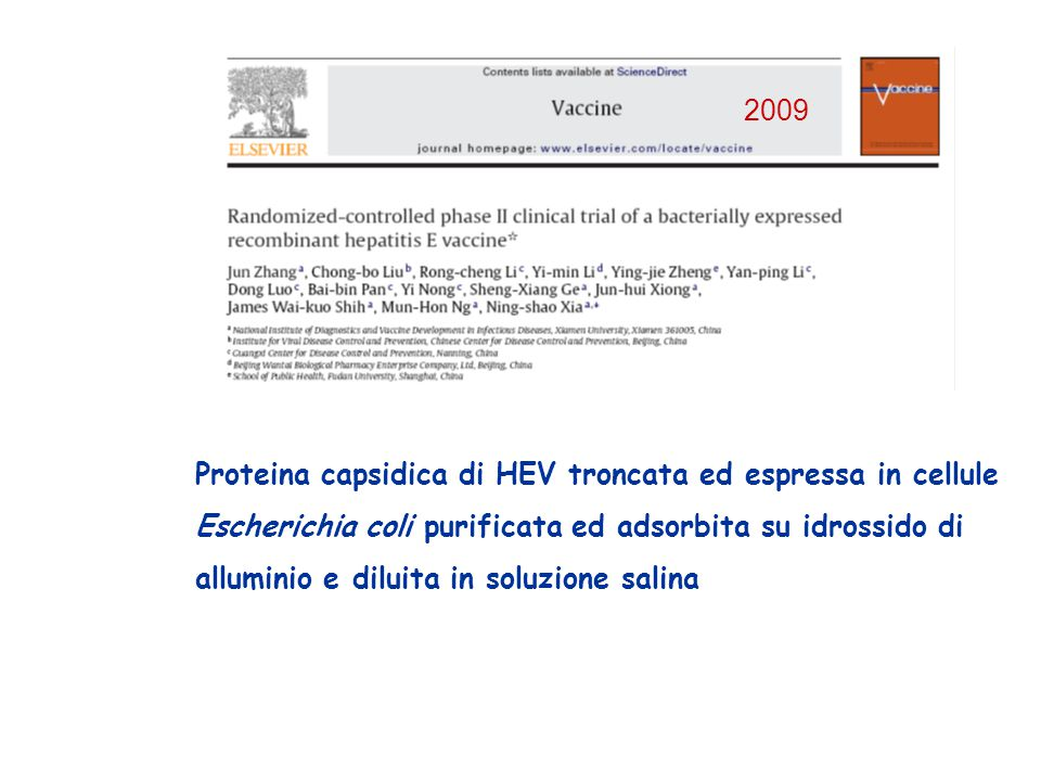 Proteina capsidica di HEV troncata ed espressa in cellule Escherichia coli purificata ed adsorbita su idrossido di alluminio e diluita in soluzione sa