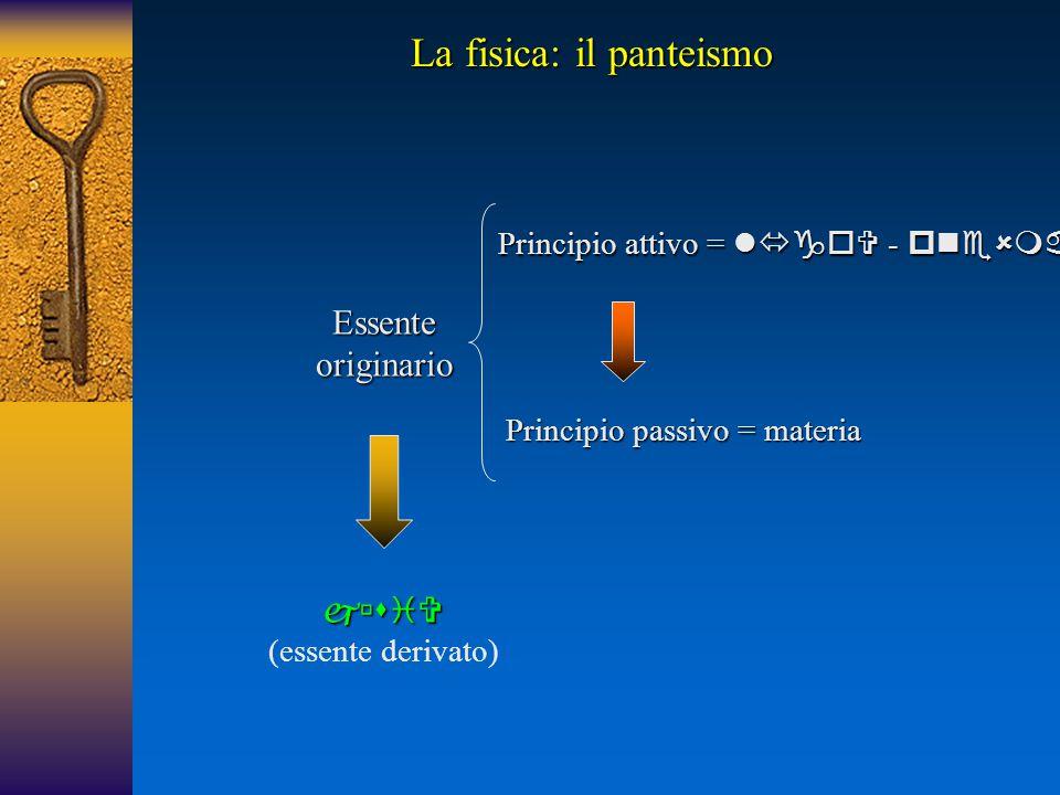 Essente originario  (essente derivato) Principio attivo =  -  Principio passivo = materia La fisica: il panteismo