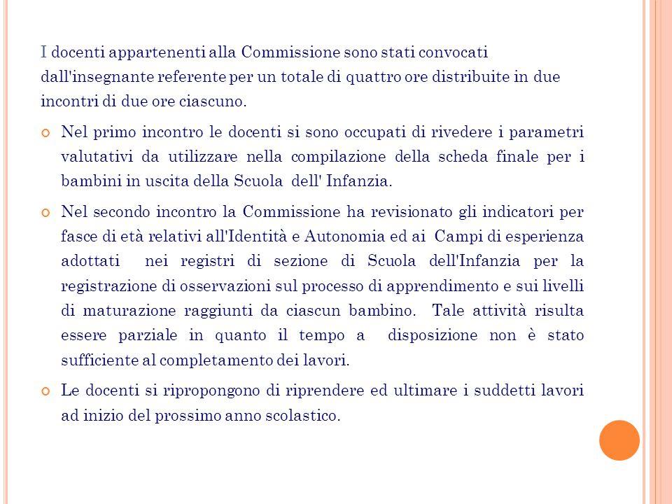 I docenti appartenenti alla Commissione sono stati convocati dall'insegnante referente per un totale di quattro ore distribuite in due incontri di due