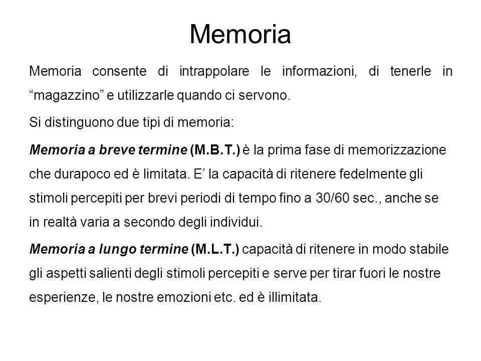 """Memoria Memoria consente di intrappolare le informazioni, di tenerle in """"magazzino"""" e utilizzarle quando ci servono. Si distinguono due tipi di memori"""