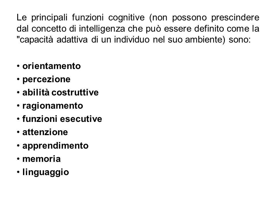 Le principali funzioni cognitive (non possono prescindere dal concetto di intelligenza che può essere definito come la