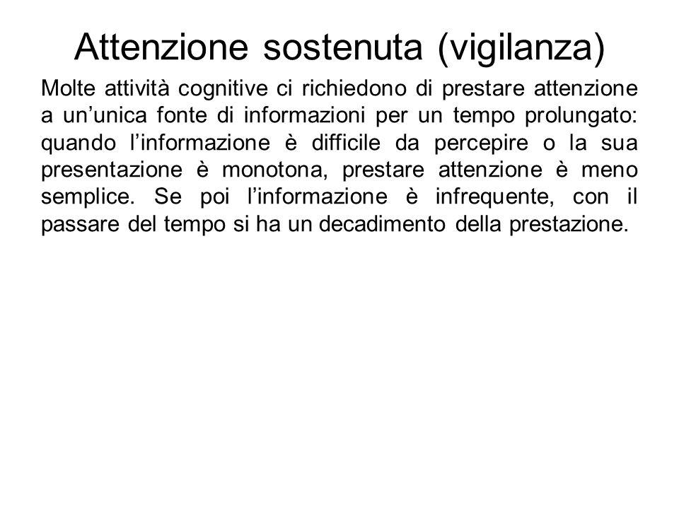 Attenzione sostenuta (vigilanza) Molte attività cognitive ci richiedono di prestare attenzione a un'unica fonte di informazioni per un tempo prolungat
