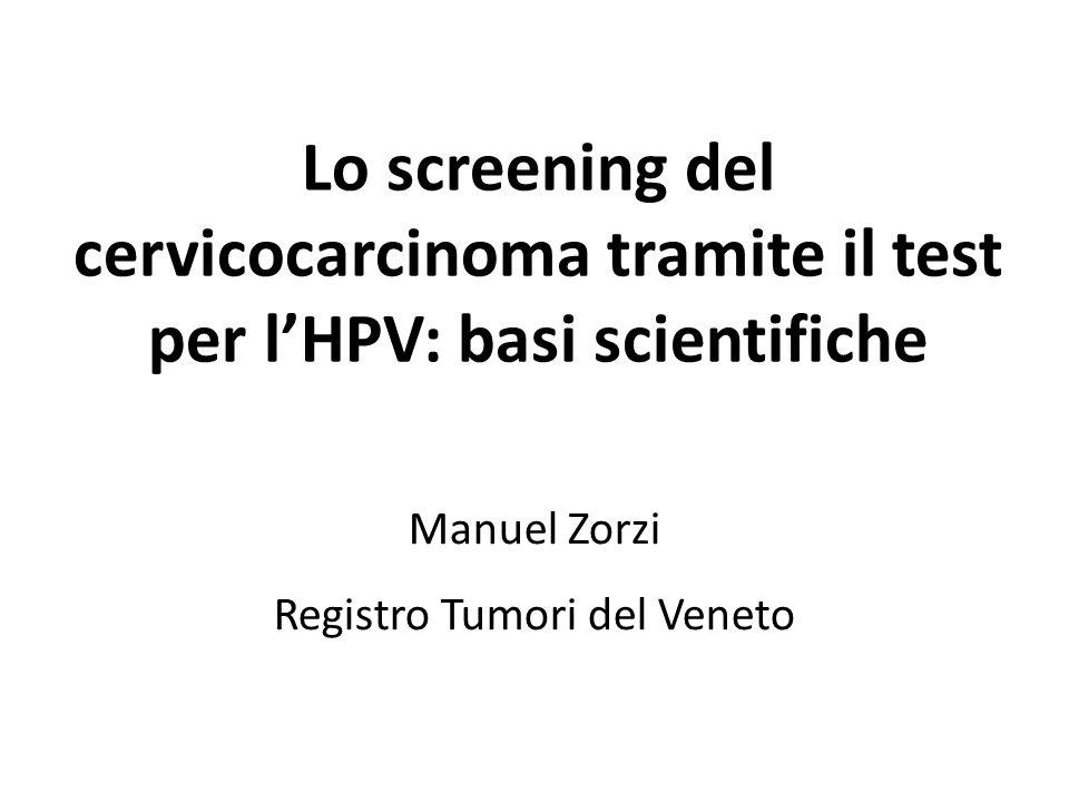 Storia di screening dei 19 carcinomi diagnosticati nel braccio HPV N% dopo HPV-842,1 - con pap test-842,1 - dopo > 6 anni421,1 - microinvasivi526,3 dopo HPV+1157,9 - con biopsia < 2,5 anni1 (CIN1)5,3 - HPV- dopo un anno, carcinoma dopo 10 anni 15,3 - non ripete HPV a un anno526,3 - colposcopia senza biopsia421,1 TOTALE19100 Causa principale: non adesione al protocollo (e bassa sensibilità della colposcopia)