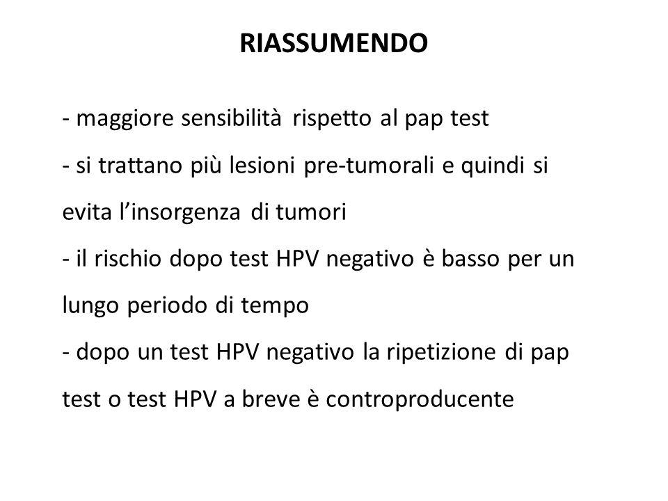 RIASSUMENDO - maggiore sensibilità rispetto al pap test - si trattano più lesioni pre-tumorali e quindi si evita l'insorgenza di tumori - il rischio dopo test HPV negativo è basso per un lungo periodo di tempo - dopo un test HPV negativo la ripetizione di pap test o test HPV a breve è controproducente