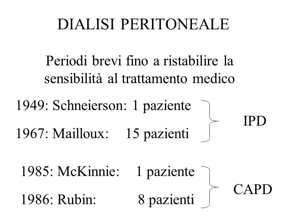DIALISI PERITONEALE 1949: Schneierson: 1 paziente 1967: Mailloux: 15 pazienti IPD CAPD 1985: McKinnie: 1 paziente 1986: Rubin: 8 pazienti Periodi brev