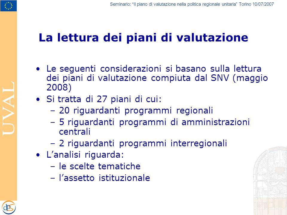 Seminario: Il piano di valutazione nella politica regionale unitaria Torino 10/07/2007 La lettura dei piani di valutazione Le seguenti considerazioni si basano sulla lettura dei piani di valutazione compiuta dal SNV (maggio 2008) Si tratta di 27 piani di cui: –20 riguardanti programmi regionali –5 riguardanti programmi di amministrazioni centrali –2 riguardanti programmi interregionali L'analisi riguarda: –le scelte tematiche –l'assetto istituzionale