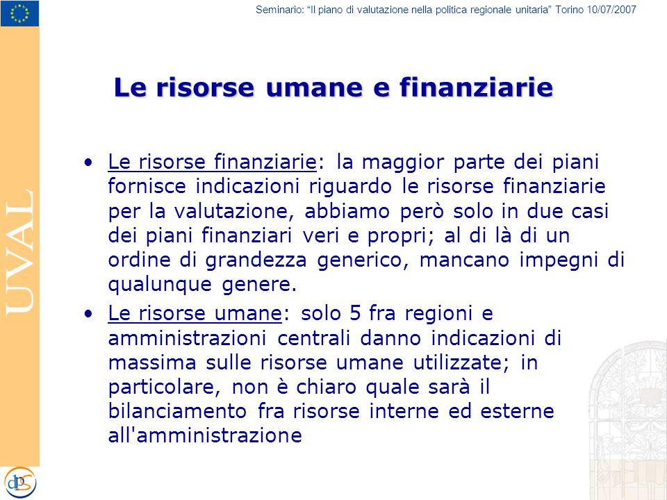 """Seminario: """"Il piano di valutazione nella politica regionale unitaria"""" Torino 10/07/2007 Le risorse umane e finanziarie Le risorse finanziarie: la mag"""