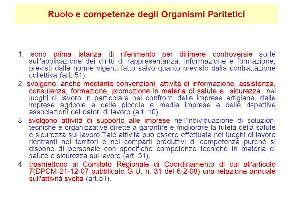 Ruolo e competenze degli Organismi Paritetici sono prima istanza di riferimento per dirimere controversie 1.