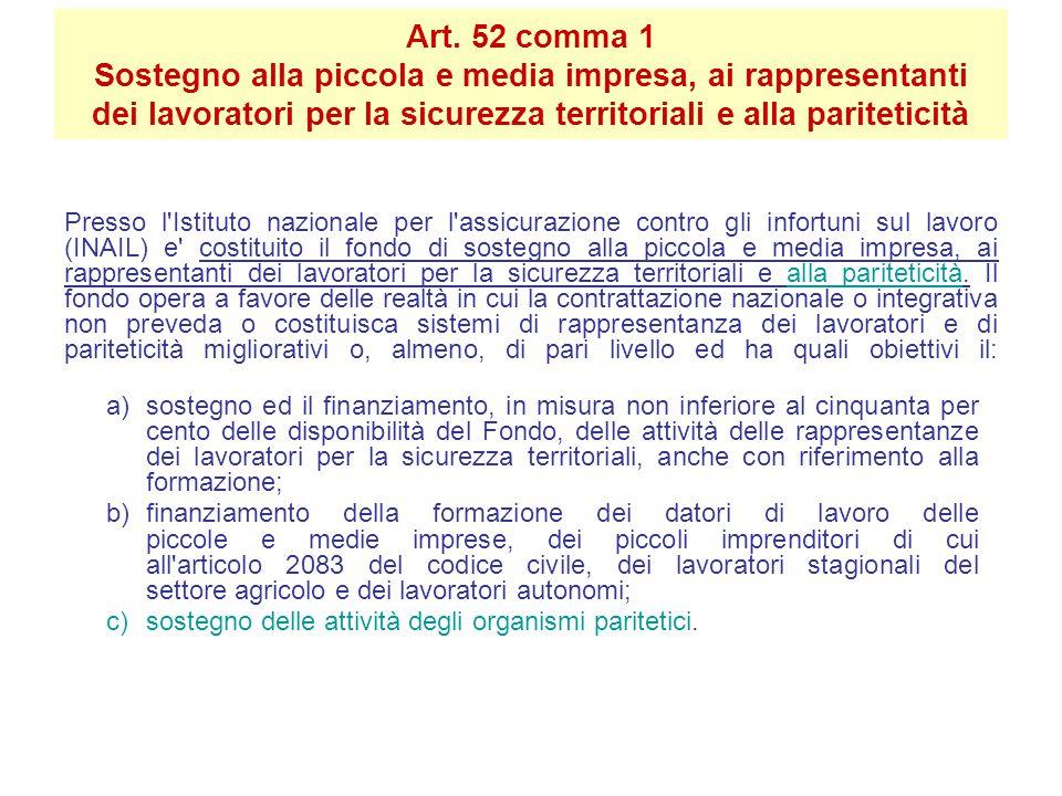Art. 52 comma 1 Sostegno alla piccola e media impresa, ai rappresentanti dei lavoratori per la sicurezza territoriali e alla pariteticità Presso l'Ist