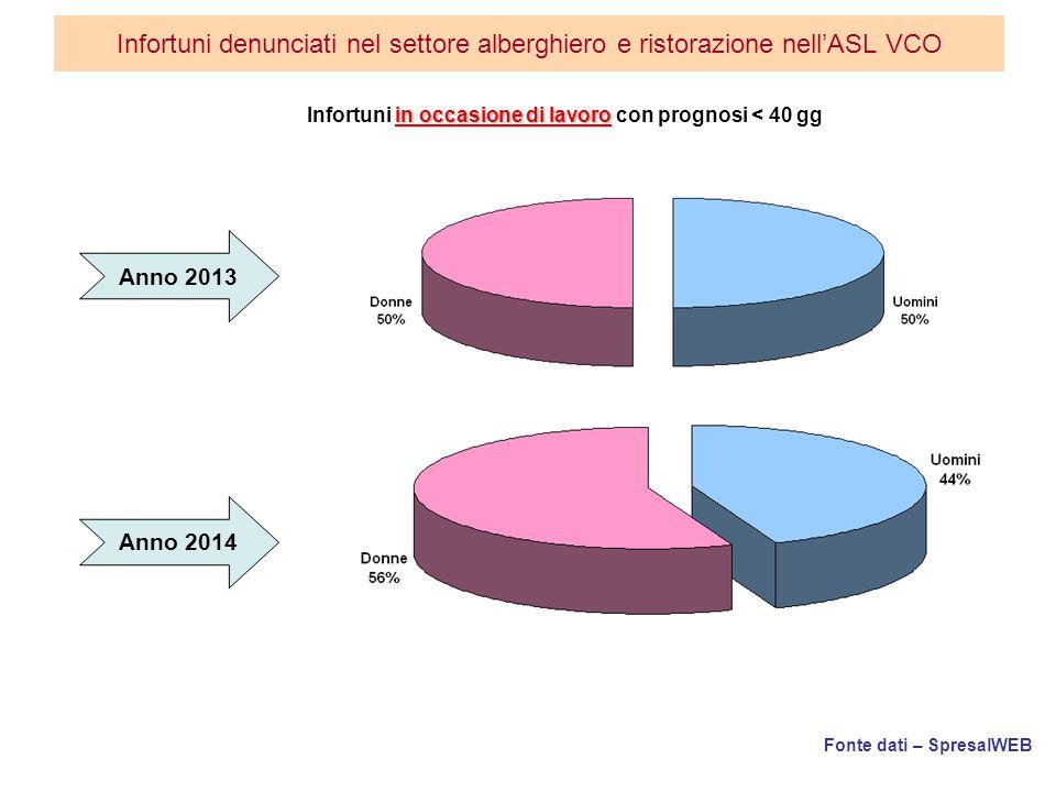 Fonte dati – SpresalWEB Infortuni denunciati nel settore alberghiero e ristorazione nell'ASL VCO in occasione di lavoro Infortuni in occasione di lavoro con prognosi < 40 gg Anno 2013 Anno 2014