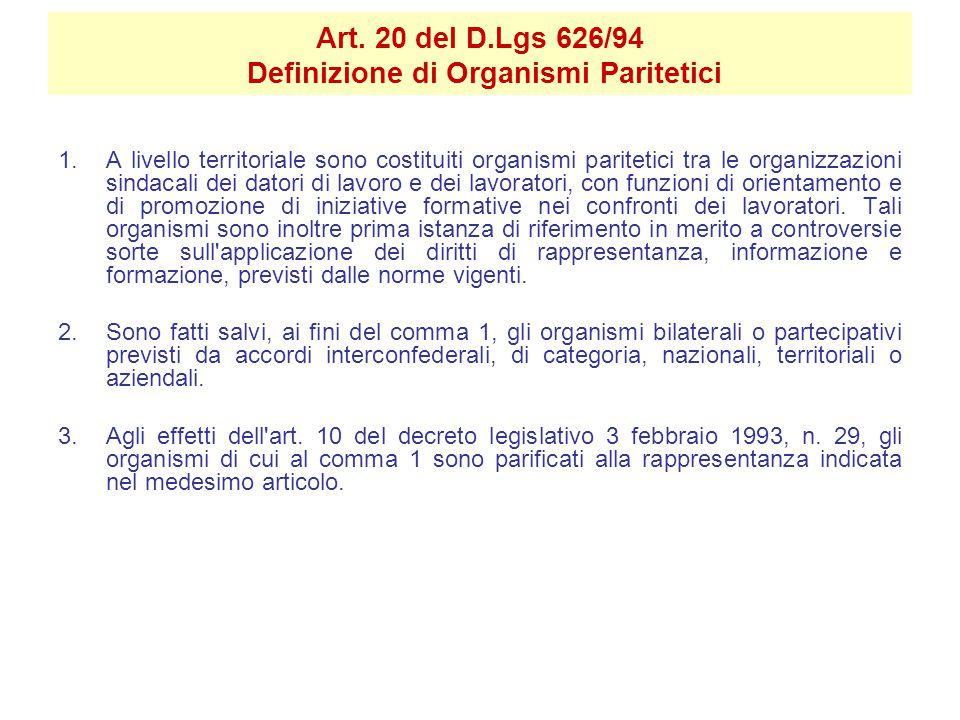 Art. 20 del D.Lgs 626/94 Definizione di Organismi Paritetici 1.A livello territoriale sono costituiti organismi paritetici tra le organizzazioni sinda